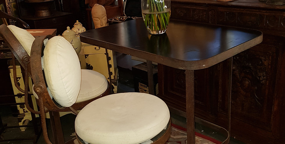 Iron Table with 2 Stool Chairs
