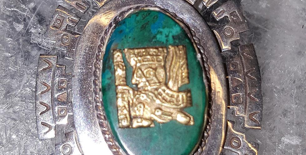 Silver and Malachite Pendant/Brooch