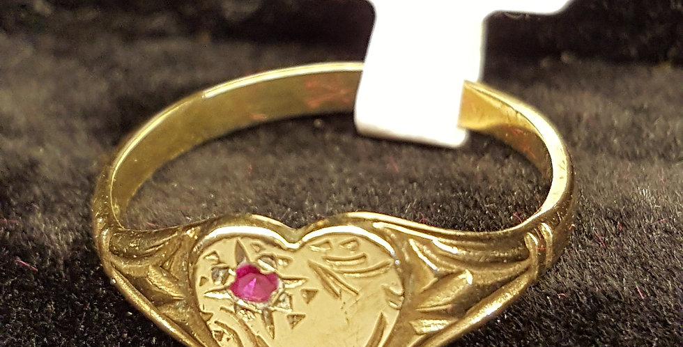 Gold Heart with Pink Stone