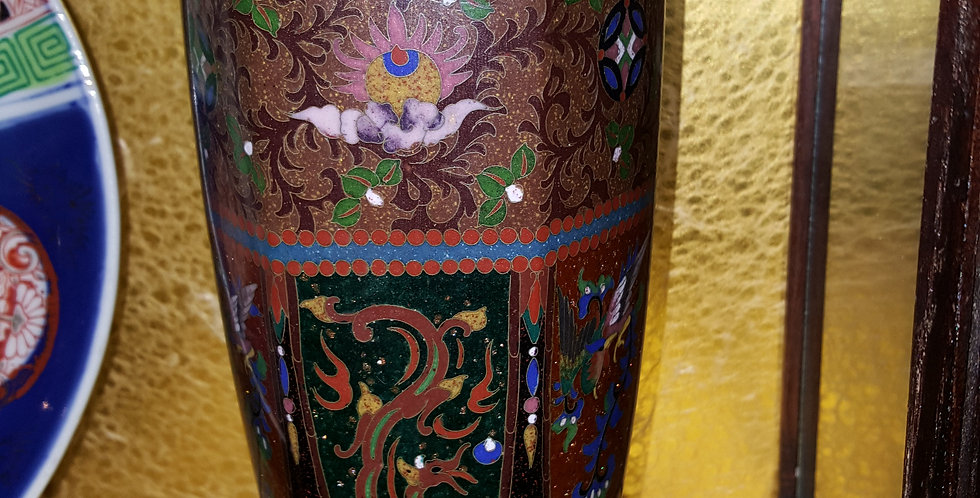 Chinese Cloisonne Urn on Timber Stand