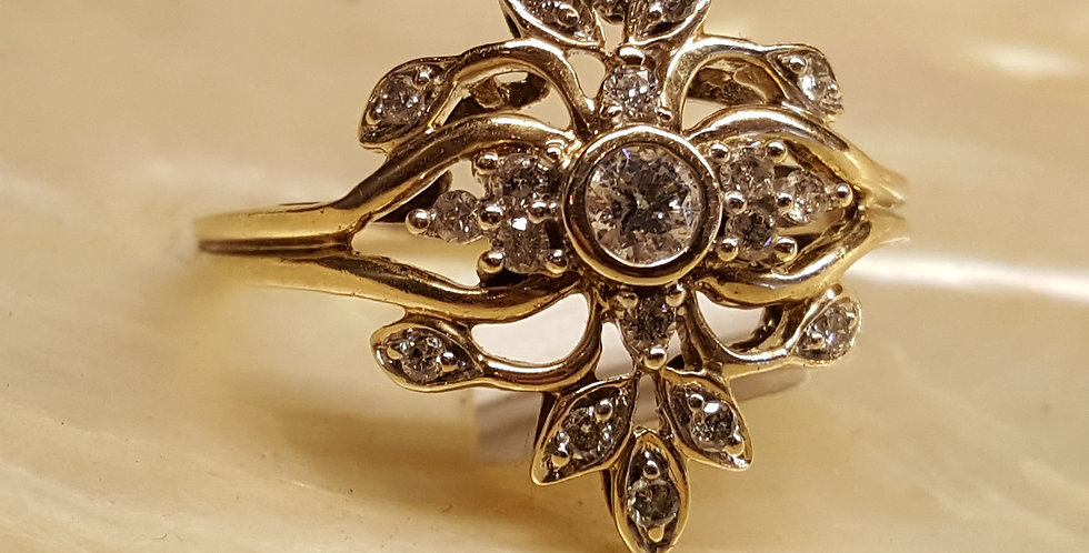 "Diamond and Gold ""Fleur De Lis"" Ring"