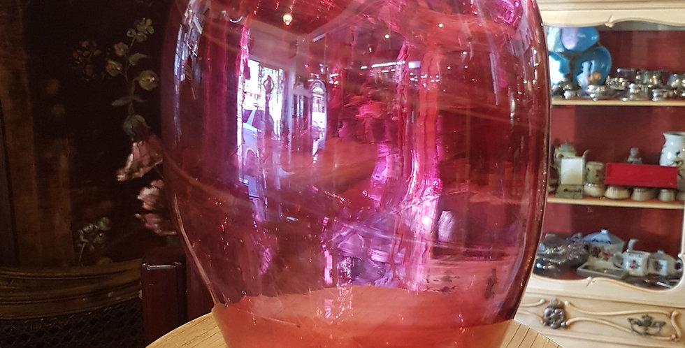 Victorian Hand Blown Cranberry Glass Vase