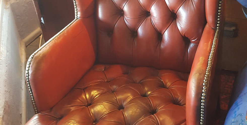 Vintage Leather Wingbacks