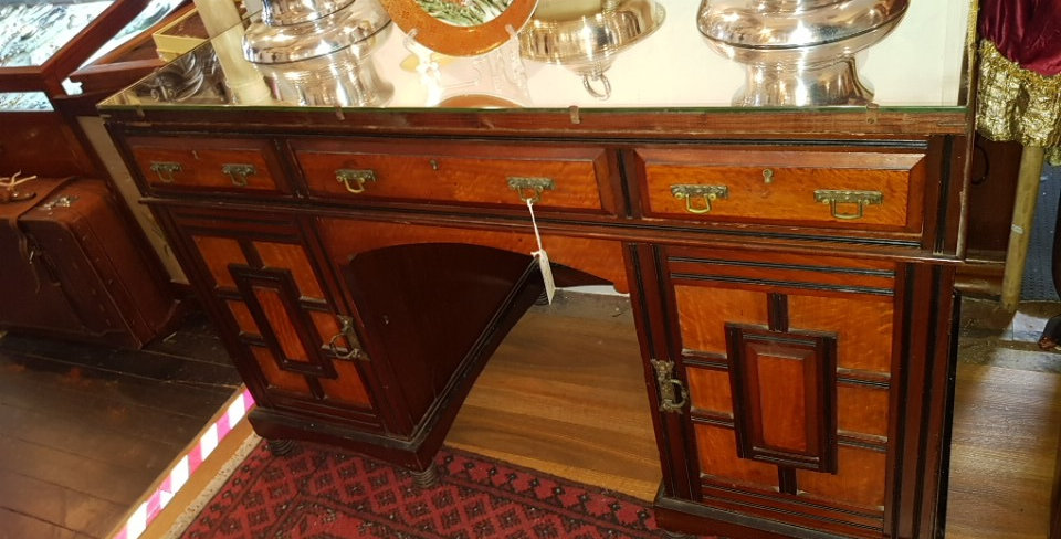 Antique Japanese Mirror Top Desk