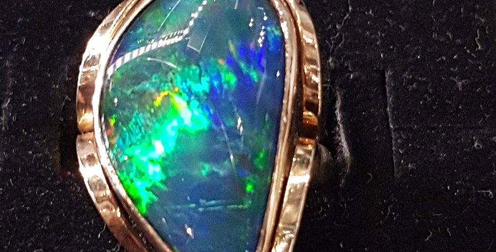 Solid Black Opal Ring