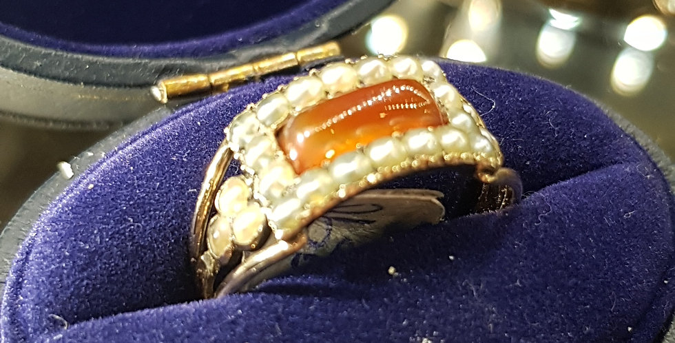 Victorian Carnelian and Seed Pearls Ring