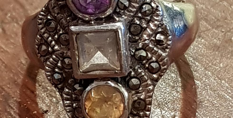 Amythest, Citrine and Aquamarine Ring