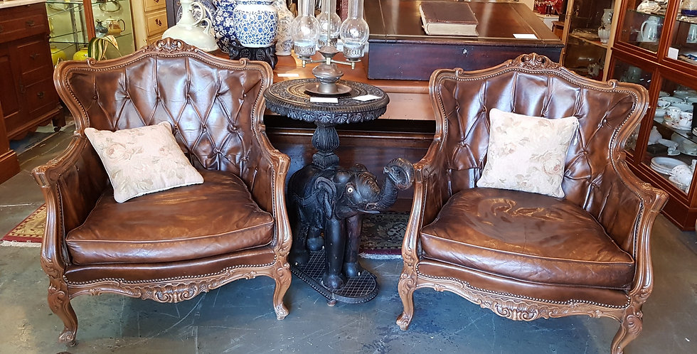 Antique Leather Ruchback Armchairs
