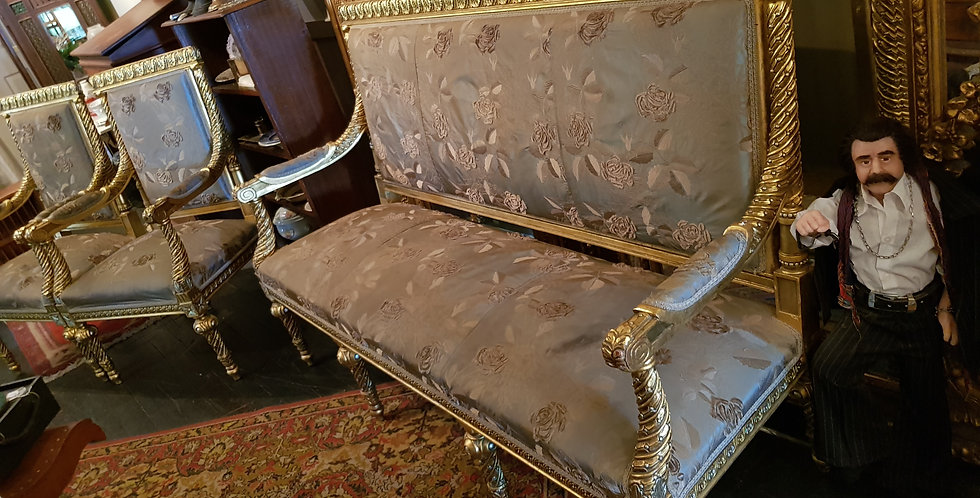 Vintage French Style Gold Gilt Sofa