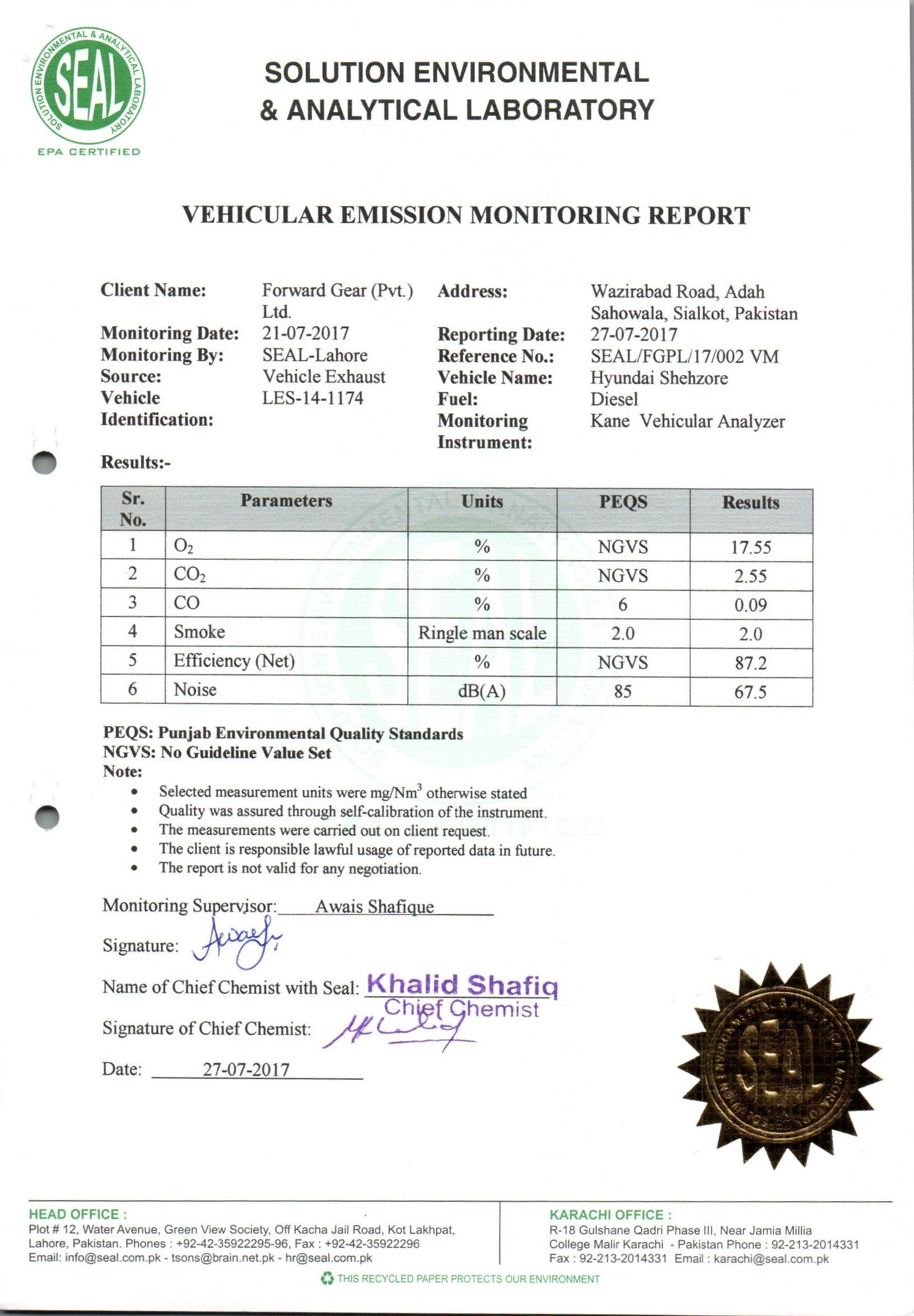 Vehicular Exhaust
