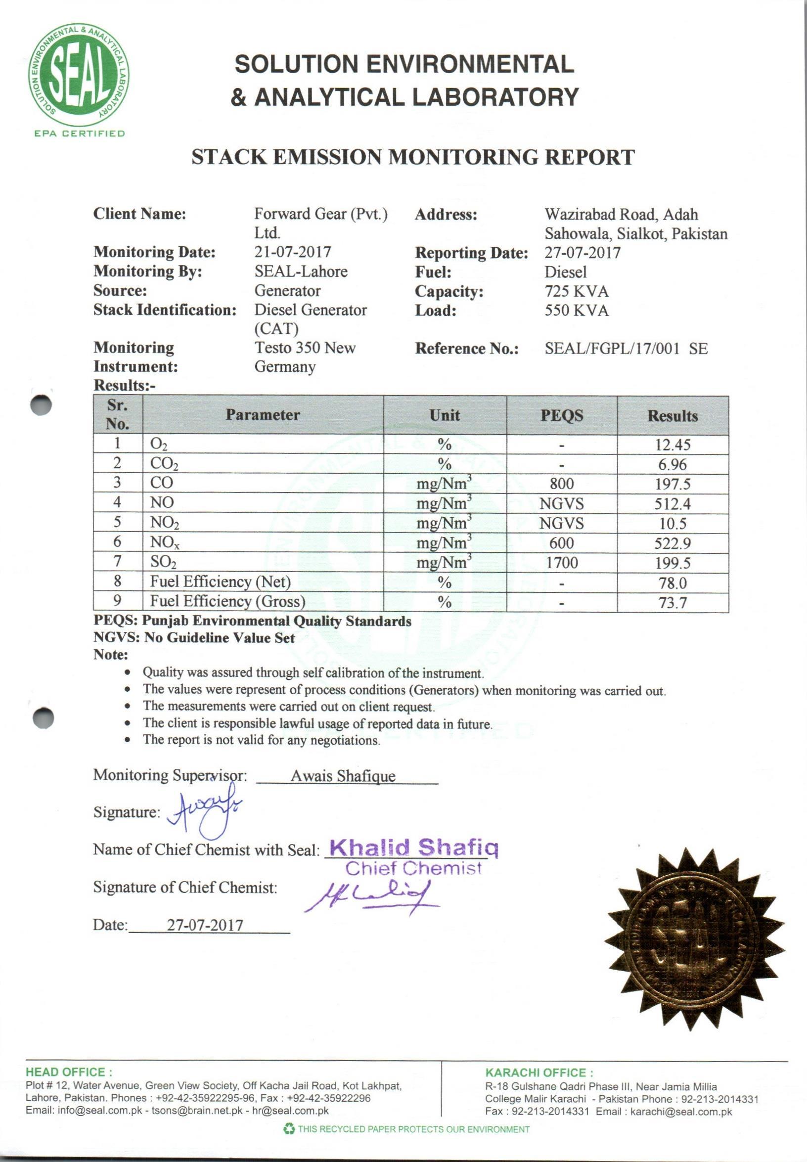 Stack Emissions Test