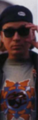 Nogu Svelo!'s guitarist Igor Lapukhin wearing Diesel jeans closes, 1995