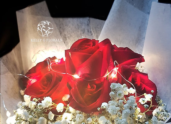 Rose Bouquet with Fairy Lights