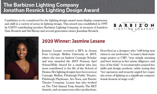 Barbizon Lighting Company Johnathan Resnick Lighting Design Award