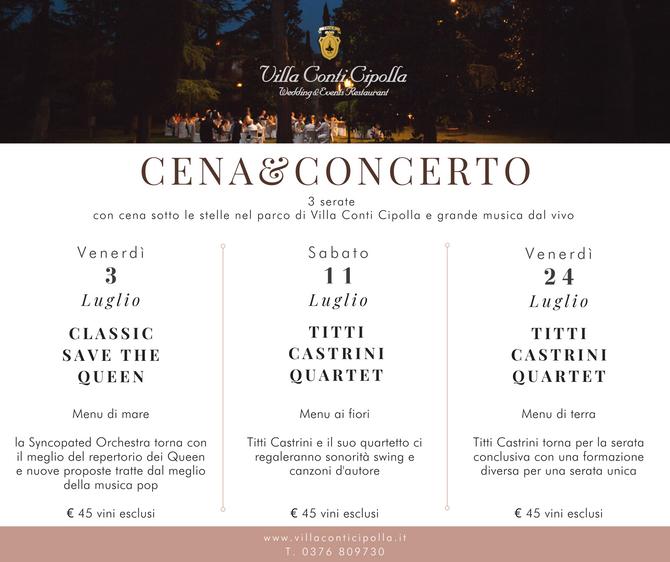 Cena&Concerto 2020: 3 serate uniche!