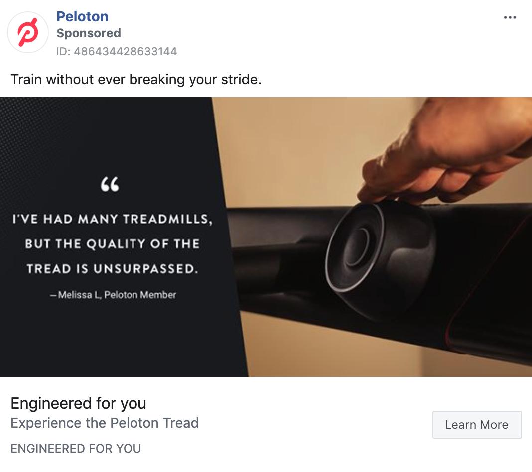 Peloton Testimonial Static Image 2 Ad
