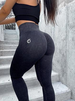 PREORDER Scrunch tie-dye black leggings