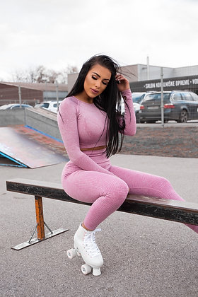 Long sleeve baby pink push up set