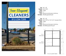Sew Elegant Cleaners Sign