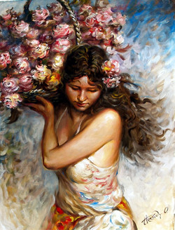 Girl with a basket of roses