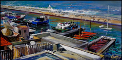 View to the port of Jaffa (40x80. 2017).