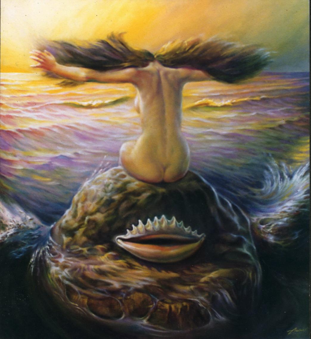 Neptune and nymph. Awakening of god
