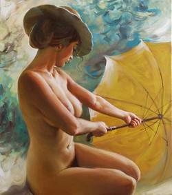 Nude with a yellow umbrella