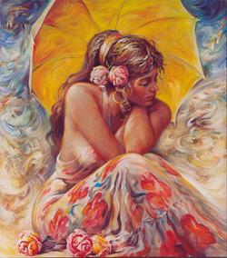 Girl, umbrella and roses
