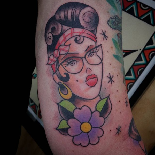 Pin up girl head tattoo by Lou