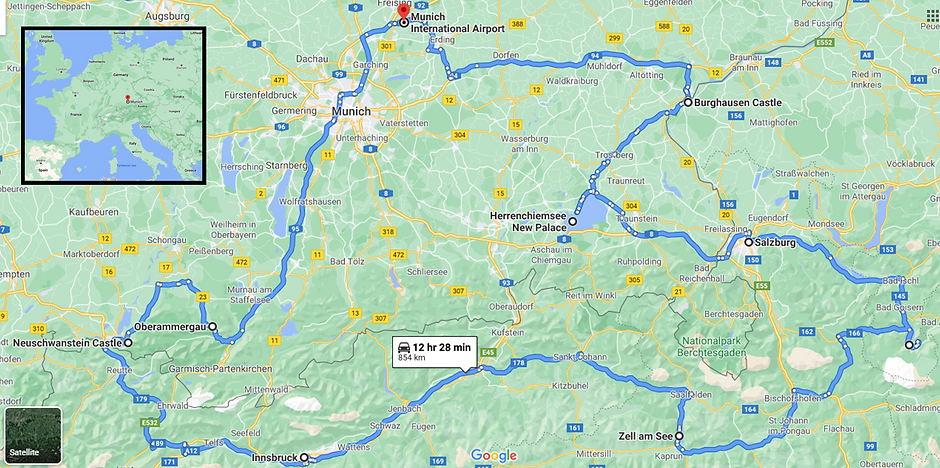 Tour Route Germany and Austria Jul 2022.
