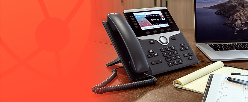 Cisco IP PBX Phone System with Color against orange background