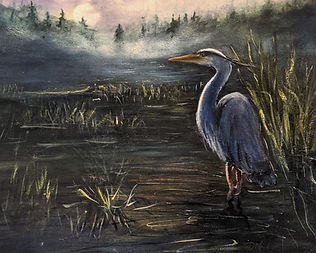 Heron  BASKING IN  THE MOONLIGHT