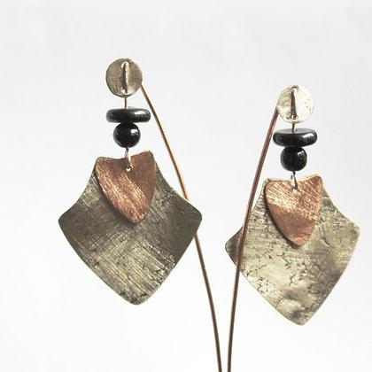 Aro de Plata y Cobre, chapa satinada y piedras