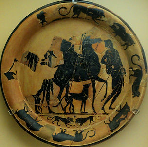 Ancient Greece horseman dog javelins
