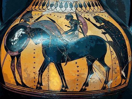 Attic horseman, black-figure amphora, 550–540 BC (Louvre)