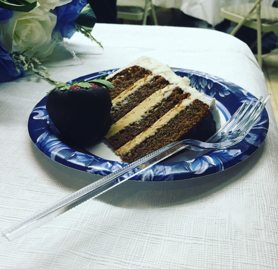 a slice of the chocolate peanut butter cake