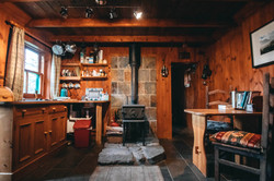 Wood burning stove and small kitchen