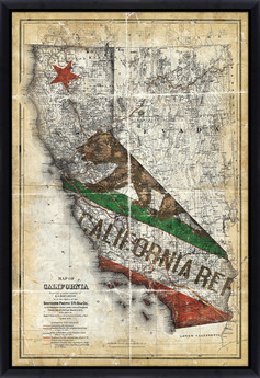 Vintage California Flag Map