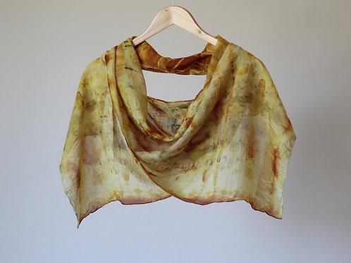 Botanically Dyed Long Silk Scarf | Golden