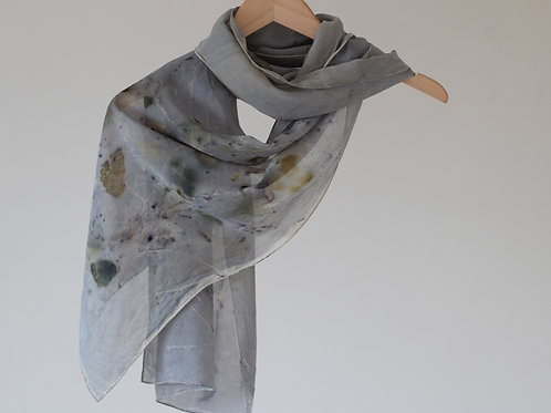 Botanically Dyed Long Silk Scarf  | Grey Purple - Abstract Tree Branches