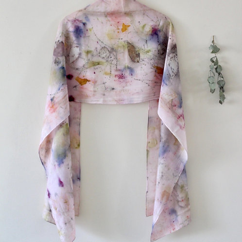Naturally dyed and Eco printed Silk scarf