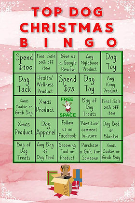 Top Dog Christmas Bingo Card