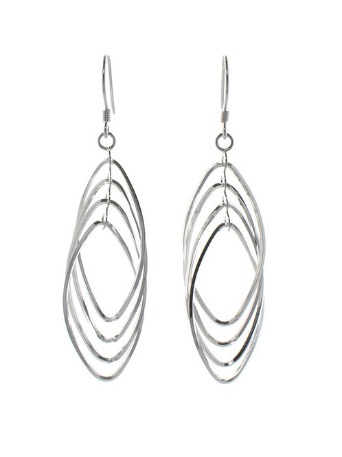 Large Multi-Oval Silver Drops