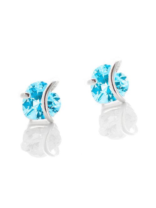 Aquamarine Heart Stud Earrings