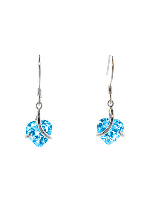 Blue Topaz Heart Drop Earrings