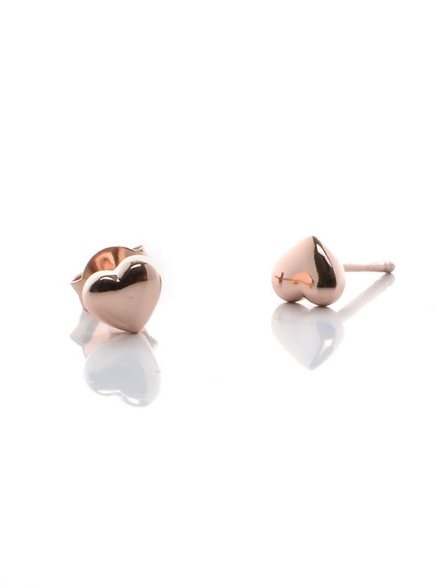 Small Rose Gold Heart Studs