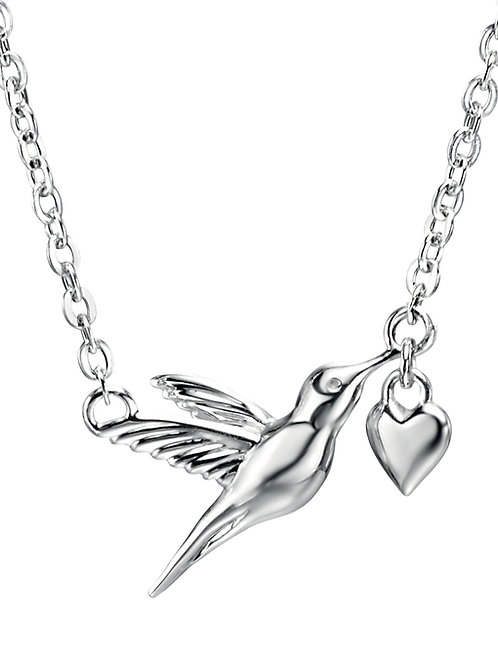 Silver Hummingbird with Heart