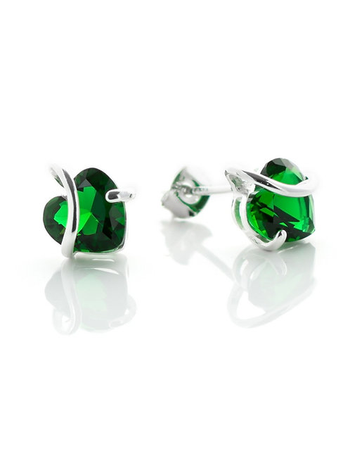 Emerald Green Heart Studs