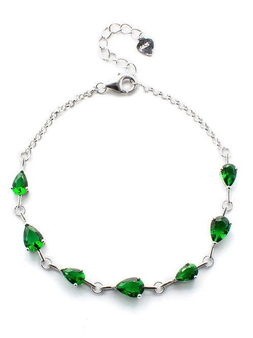 Emerald Green Teardrop Bracelet