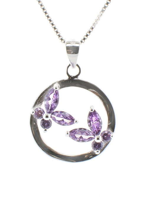 Two Small Amethyst Butterfly Pendant